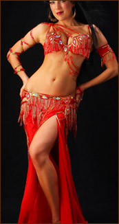 belly dance costume turkish red laces